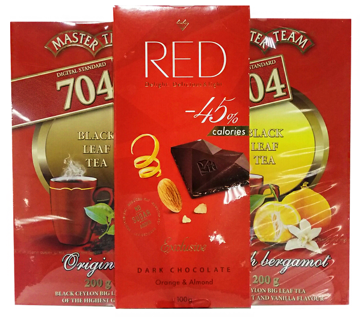 Набор чай Mater Team 704 и шоколад RED